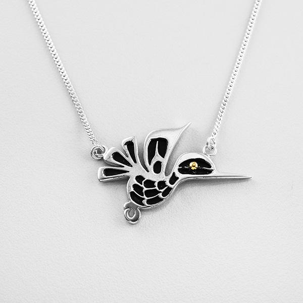 Silver and Gold Hummingbird Necklace by Northwest Coast Native Artist Wayne Wilson