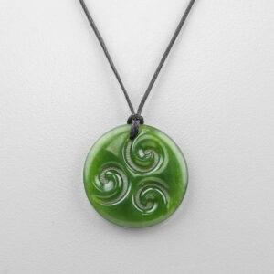 Jade Koru Pendant by Maori Artist Ross Crump