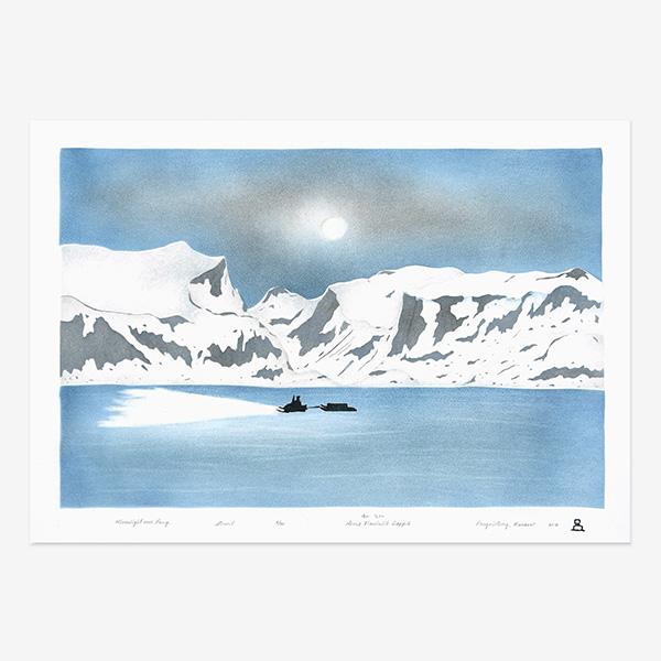 Moonlight over Pang Print by Inuit Native Artist Annie Naulalik Qappik