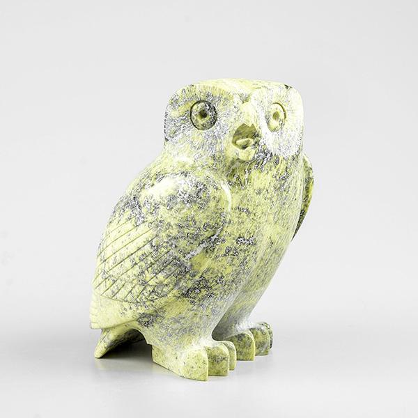 Stone Owl Sculpture by Inuit Native Artist Pitsiulak Qimirpik