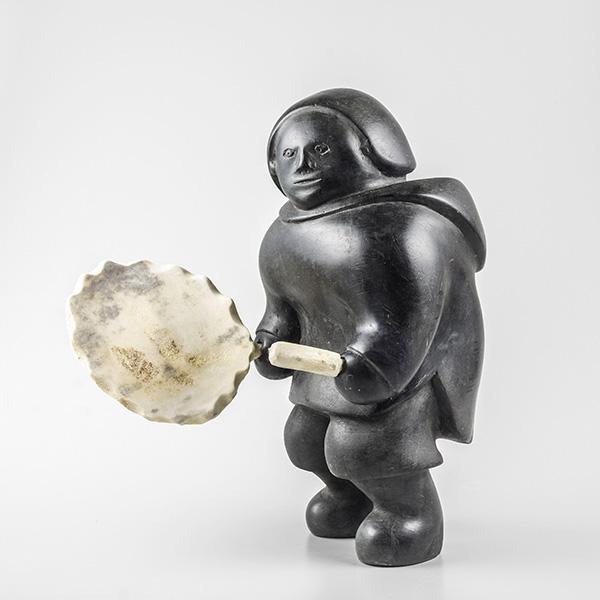 Stone, Bone, and Caribou Antler Drum Dancer Sculpture by Inuit Artist Matthew Aquigaaq