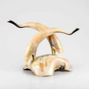 """Muskox Horn Bird Sculpture by Inuit Artist Buddy """"Nutik"""" Alikamik"""