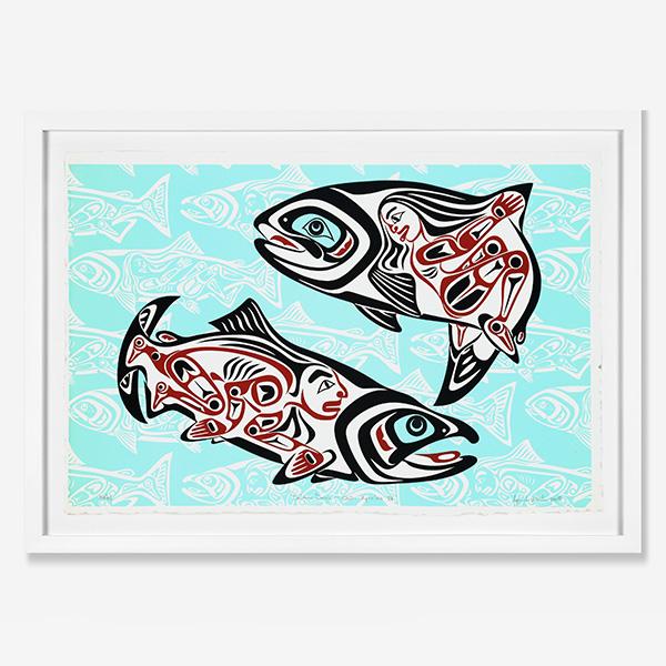 Framed Salmon Dance IV Print by Northwest Coast Native Artist April White
