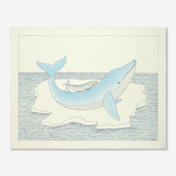 Whale & Calf Original Drawing by Inuit Artist Qavavau Manumie