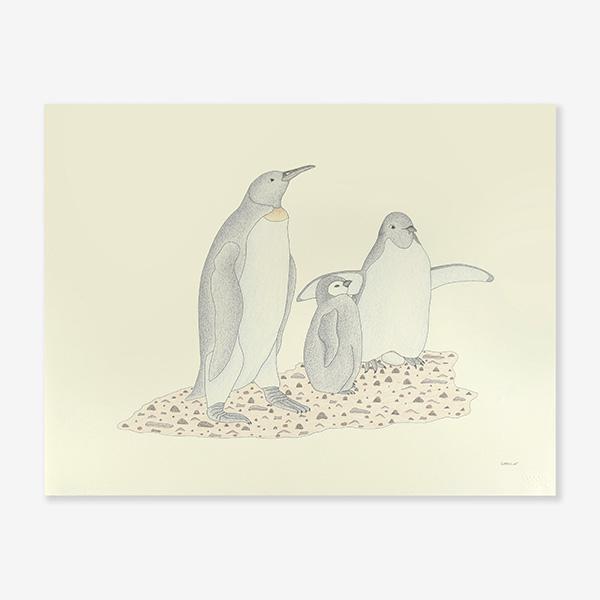 Penguin Family Original Drawing by Inuit Artist Qavavau Manumie