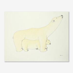 Polar Bear & Cub Original Drawing by Inuit Artist Qavavau Manumie