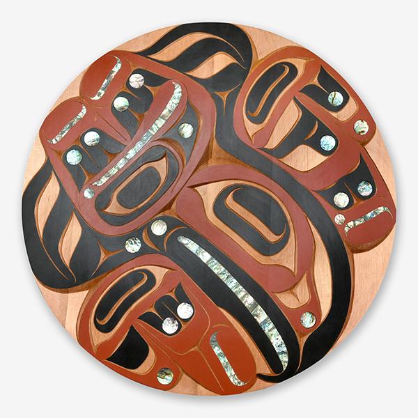 Wood and Abalone Shell Eagle Panel by Northwest Coast Native Artist Moy Sutherland