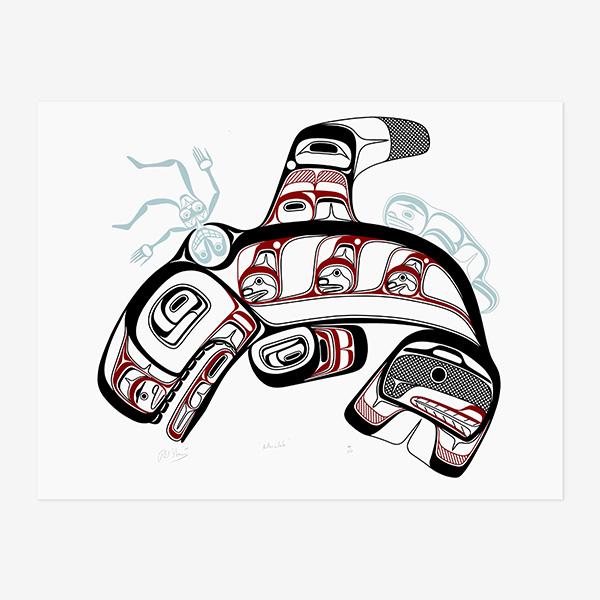 Killerwhale Print by Northwest Coast Native Artist Philip Gray