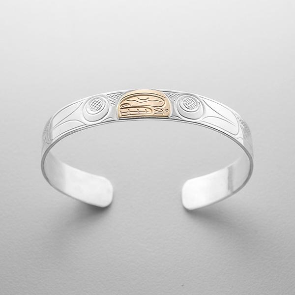 Silver and Gold Killerwhale Bracelet by Northwest Coast Native Artist John Lancaster