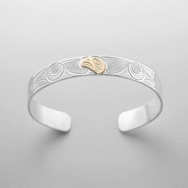 Silver and Gold Eagle Bracelet by Northwest Coast Native Artist John Lancaster