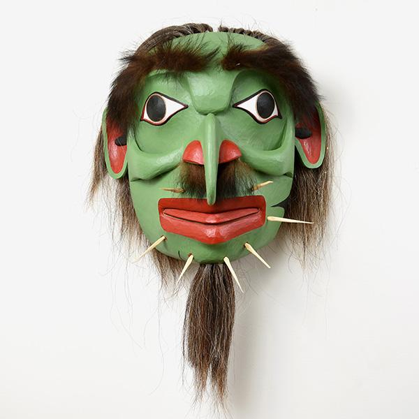 Wood and Hair Gagiid Mask by Northwest Coast Native Artist Reg Davidson