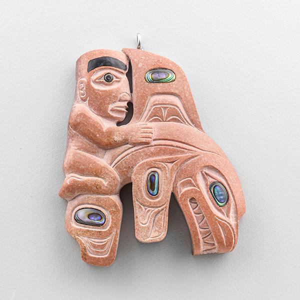 Catlinite, Argillite, and Abalone shell Gunarh and Killerwhale Pendant by Northwest Coast Native Artist Christian White