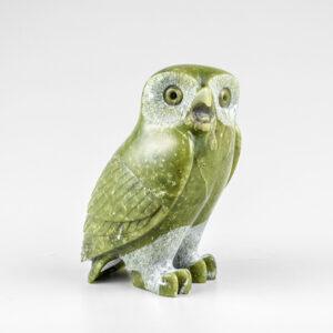 Stone Owl Sculpture by Inuit Artist Pitsiulak Qimirpik