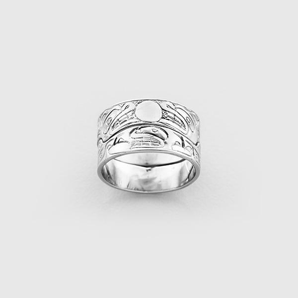 Gold Bear and Killerwhale Ring by Native Artist Carmen Goertzen
