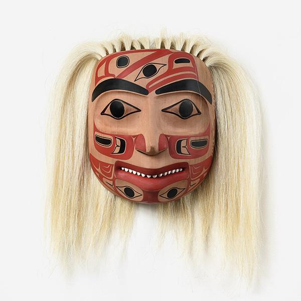 Wood, Operculum Shell, and Hair Portrait Mask by Northwest Coast Native Artist Reg Davidson
