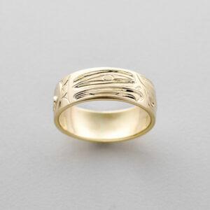 Gold Eagle Ring by Northwest Coast Native Artist Ivan Thomas