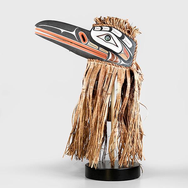 Wood, Bark, and Abalone Shell Raven Mask by Northwest Coast Native Artist Randy Stiglitz