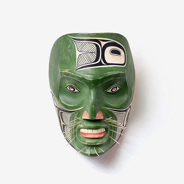 Wood and Sea Lion Whiskers Gaagit Mask by Northwest Coast Native Artist Joe David