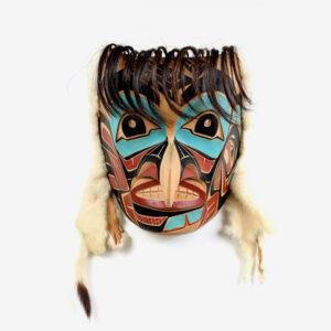 Wood, Fur, and Hair Hawk Mask by Northwest Coast Native Artist Robert Sebastian