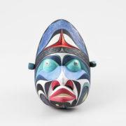 Wood, Beads, and Stone Sea Creature Mask by Northwest Coast Native Artist Reuben Mack