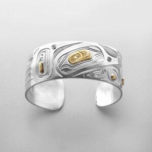 Silver and Gold Hummingbird Bracelet by Northwest Coast Native Artist David Neel
