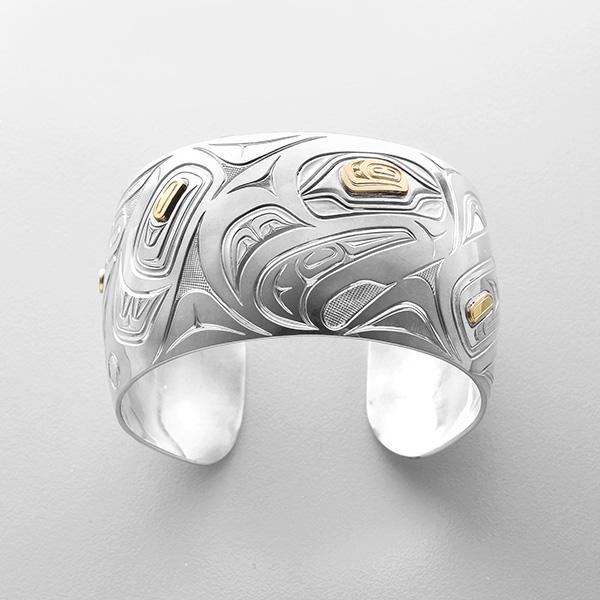 Silver and Gold Eagle Bracelet by Northwest Coast Native Artist David Neel
