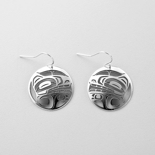 Silver Wolf Earrings by Northwest Coast Native Artist Trevor Angus