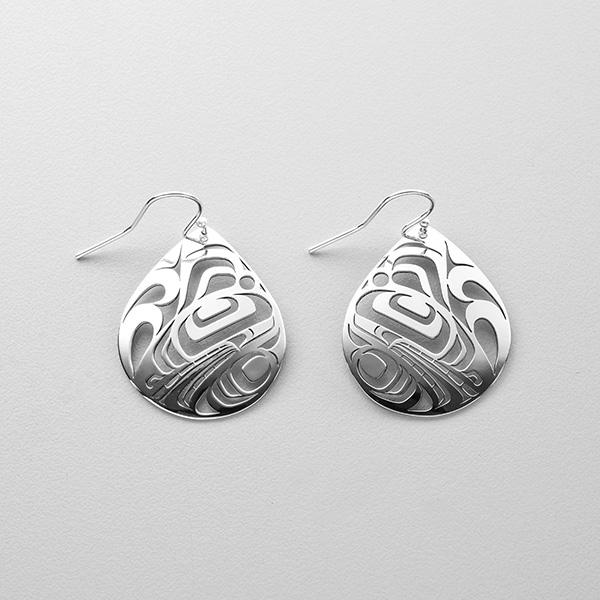 Silver Killerwhale Earrings by Northwest Coast Native Artist Trevor Angus