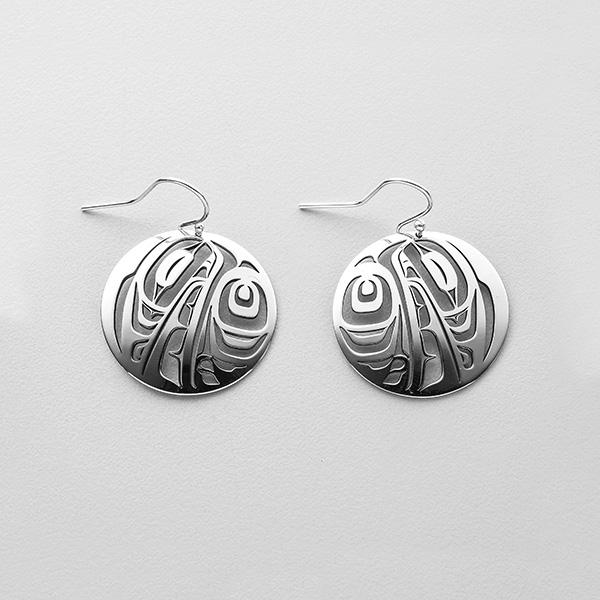 Silver Raven Earrings by Northwest Coast Native Artist Trevor Angus