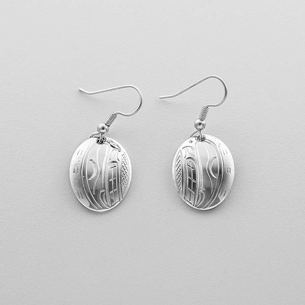 Silver Killerwhale Earrings by Northwest Coast Native Artist John Lancaster