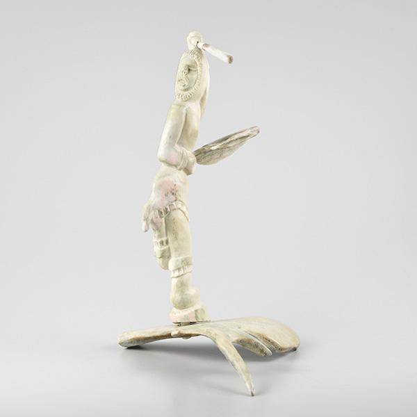 Caribou Antler Drum Dancer Sculpture by Inuit Artist Noah Natakok