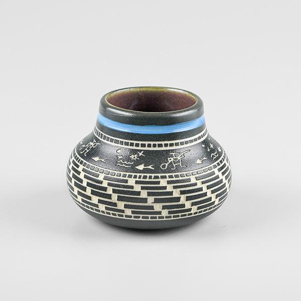 Porcelain Fishing Vase by Northwest Coast Native Artist Patrick Leach