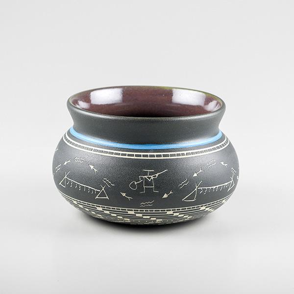 Porcelain Fishing Bowl by Northwest Coast Native Artist Patrick Leach