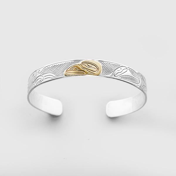 Silver and Gold Raven Bracelet by Northwest Coast Native Artist John Lancaster