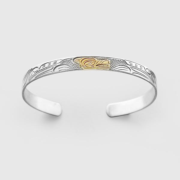 Silver and Gold Wolf Bracelet by Native Artist John Lancaster