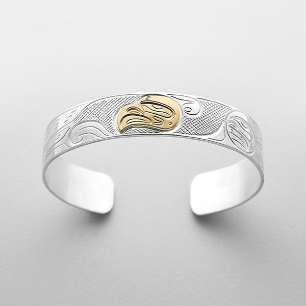 Silver and Gold Thunderbird Bracelet by Northwest Coast Native Artist John Lancaster