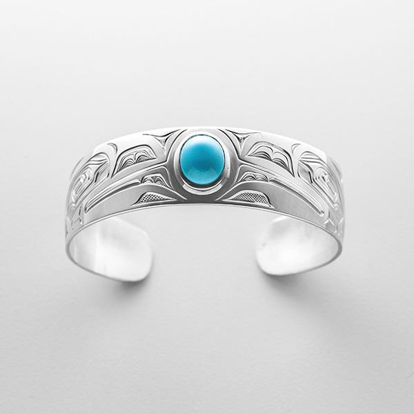 Silver and Turquoise Raven Bracelet by Northwest Coast Native Artist David Neel