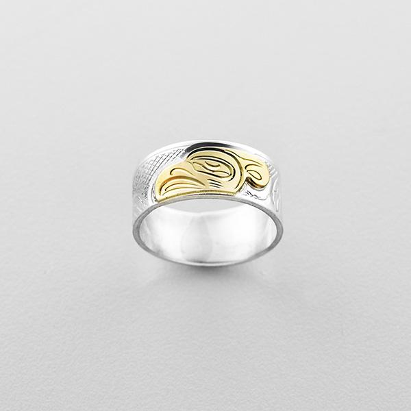 Silver and Gold Thunderbird Ring by Northwest Coast Native Artist John Lancaster