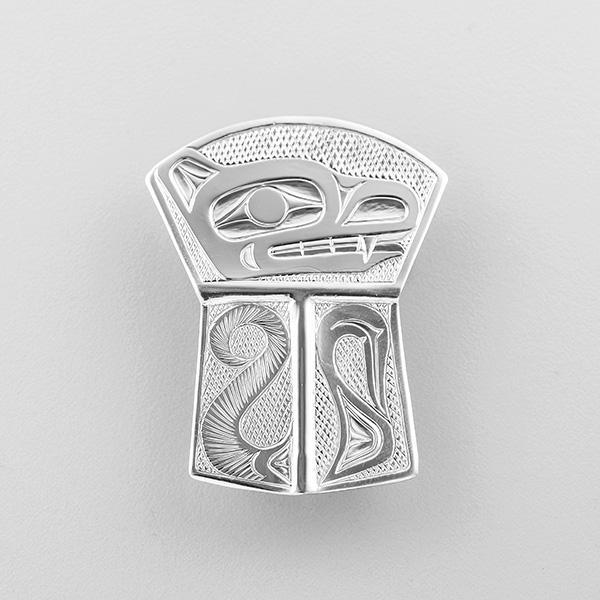 Silver Wolf Copper Shield Pendant by Northwest Coast Native Artist Richard Russ