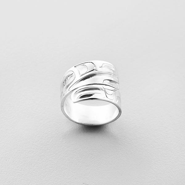 Silver Raven Wrap Ring by Northwest Coast Native Artist Alvin Adkins