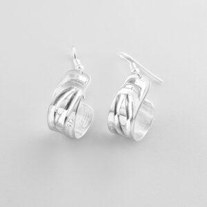 Silver Wolf Hoop Earrings by Northwest Coast Native Artist Alvin Adkins