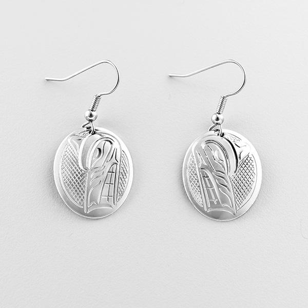 Silver Wolf Earrings by Northwest Coast Native Artist John Lancaster