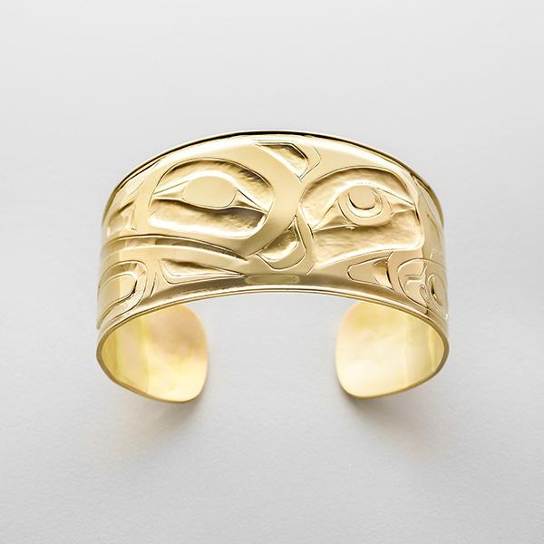 Gold Hummingbird Bracelet by Northwest Coast Native Artist Alvin Adkins
