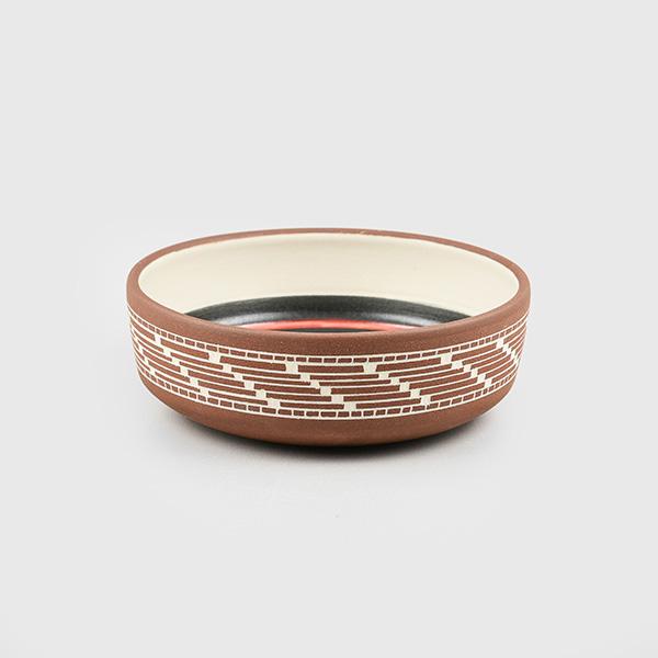 Porcelain Eagle and Basket Weave Bowl by Northwest Coast Native Artist Patrick Leach