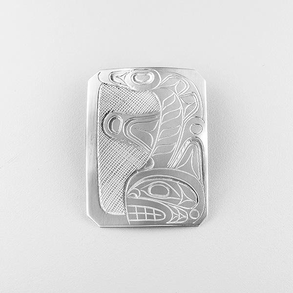 Silver Killerwhale Pendant by Northwest Coast Native Artist Don Lancaster