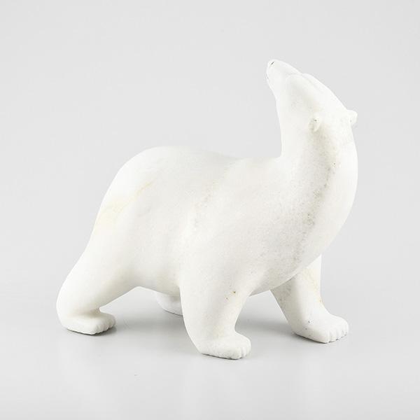 Stone Polar Bear Sculpture by Inuit Artist Tim Pee