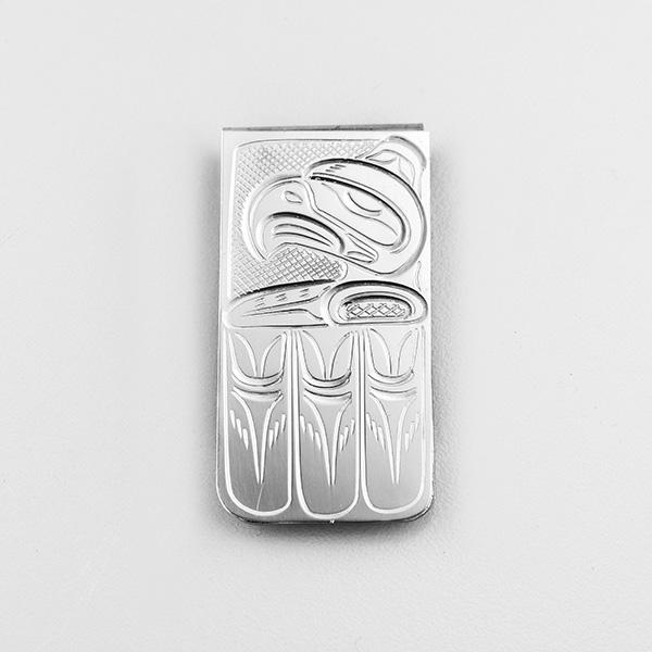 Silver and Stainless Steel Thunderbird Money Clip by Northwest Coast Native Artist John Lancaster