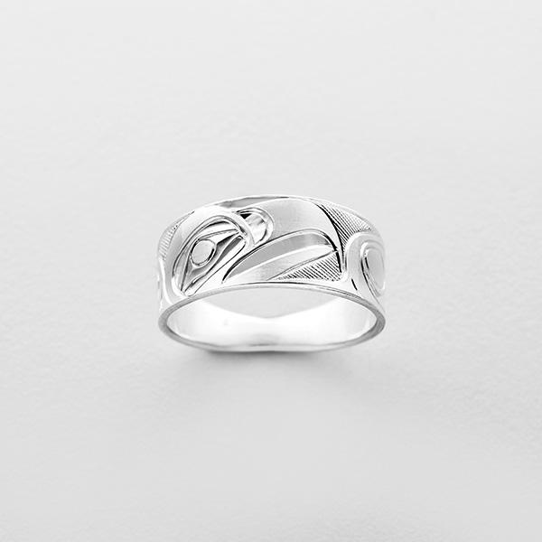 Engraved Silver Eagle Ring by Northwest Coast Native Artist Landon Gunn