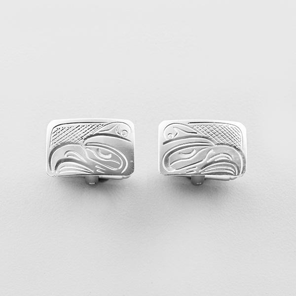 Silver and Stainless Steel Thunderbird Cufflinks by Northwest Coast Native Artist John Lancaster