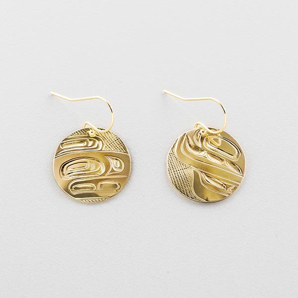 Gold Olympic Anniversary Eagle Earrings by Northwest Coast Native Artist Corrine Hunt
